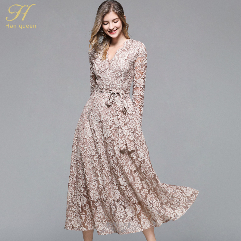 Women Spring & Autumn Vintage Elegant Dress Female Plus Size Fashion Embroidery Lace Vestidos Designer Office Lady A-line Robe Women's Clothing