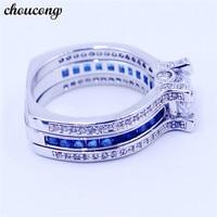 Victoria Wieck Luxury Women Blue Birthstone Zircon Cz Ring 925 Sterling Silver Women Engagement Wedding Band