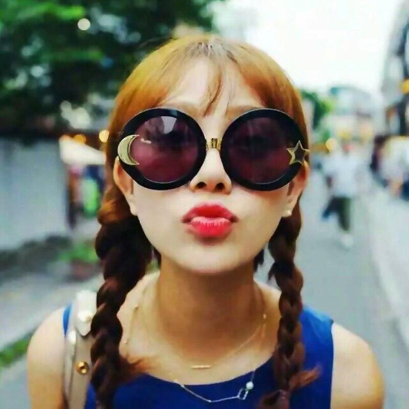 JackJad font b Fashion b font Moon And Star Oversized Round Sunglasses font b Women b