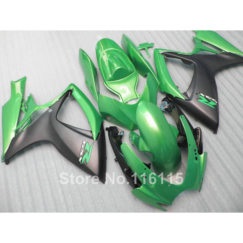 Injection mold  fairing kit for SUZUKI GSXR 600 750 K6 K7 2006 2007 matte black green GSXR600 GSXR750 fairings set 06 07 NF55 часы nixon corporal ss matte black industrial green