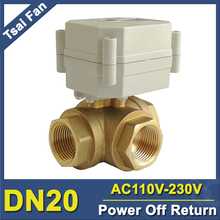 TF20-BH3-C, Brass 3/4'' (DN20) 3 Way T/L Type Horizontal Electric Flow Control Valve TF20-BH3-C AC110 to 230V 3Wires tf10 bh3 b brass 3 way t l type 3 8 dn10 horizontal actuator ball valve dc12v 24v 2 3 5 7 wires for water heating