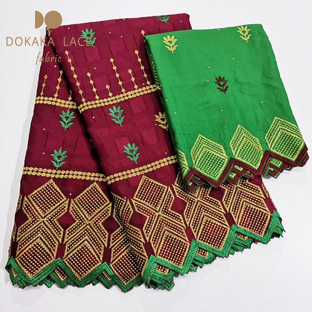 5 2 Yards Set Special Embroidered Stones Swiss Cotton Jacquard Fabrics Nigerian Indian Guipure For Evening