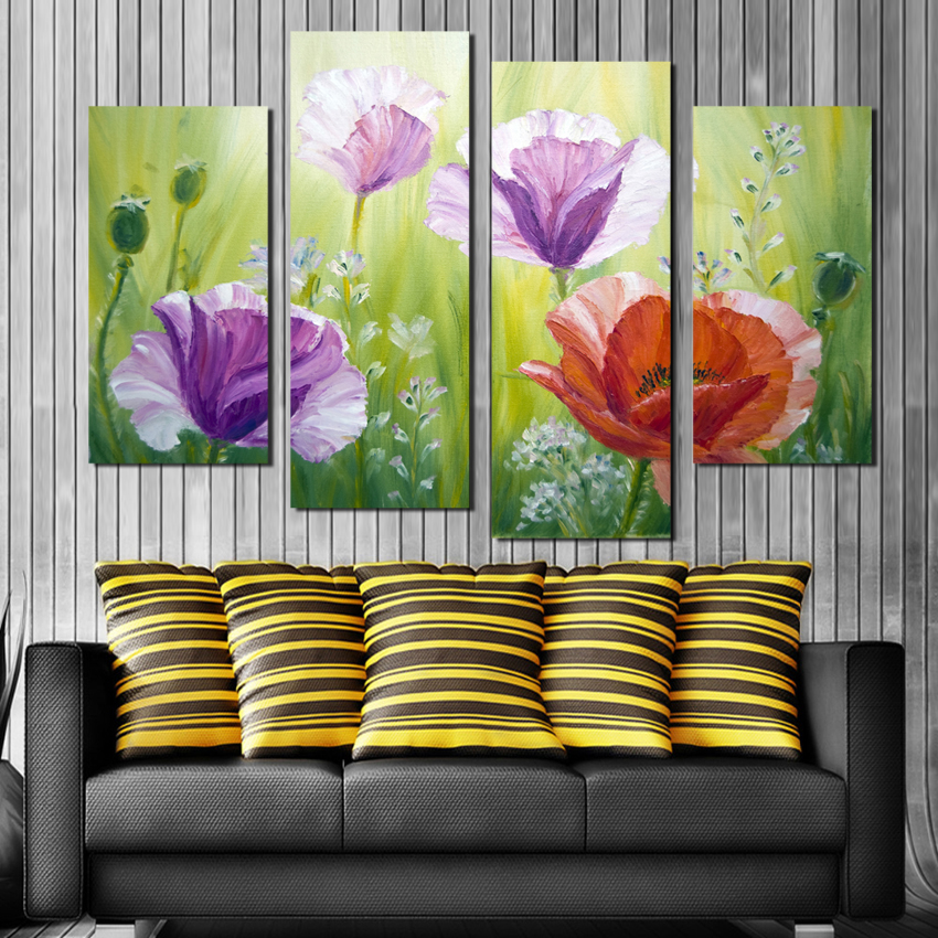 Home Office Sets Painted Office 5 Piece: 4 Piece Art Sets Dreamy Tulip Flower Picture On Canvas