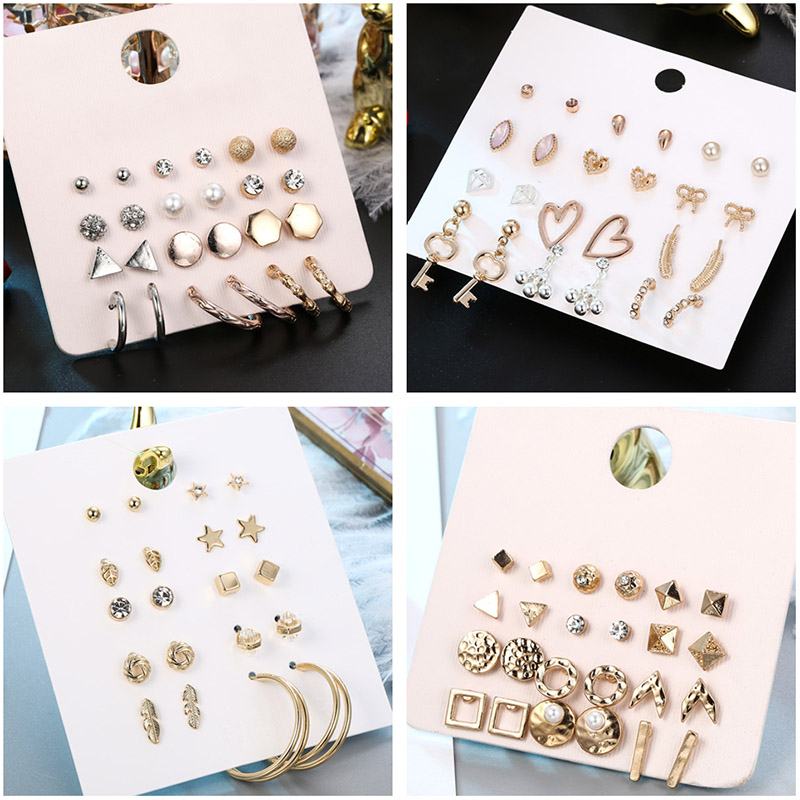 New Design Geometric 12Pair/Sets Stud Earrings Set For Women Girl Bohemian Mixed Gold Star Heart Key Triangle Feather Earring