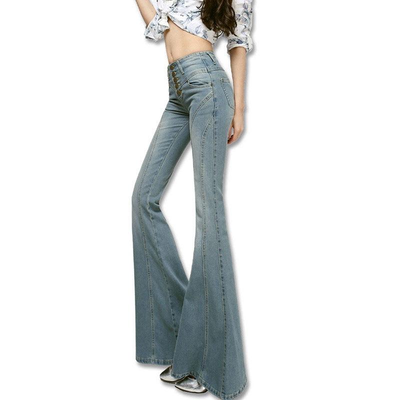 pantalon Haute Taille 2017 Jeans Femme Femmes Cloche Fond Mode Jeans wqwB1Iz