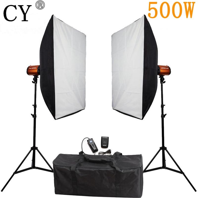 CY Photography Studio Soft Box Flash Lighting Kits 500w Flash Light*2+Softbox*2+Stand*2 For Photo Studio Godox Smart 250SDI