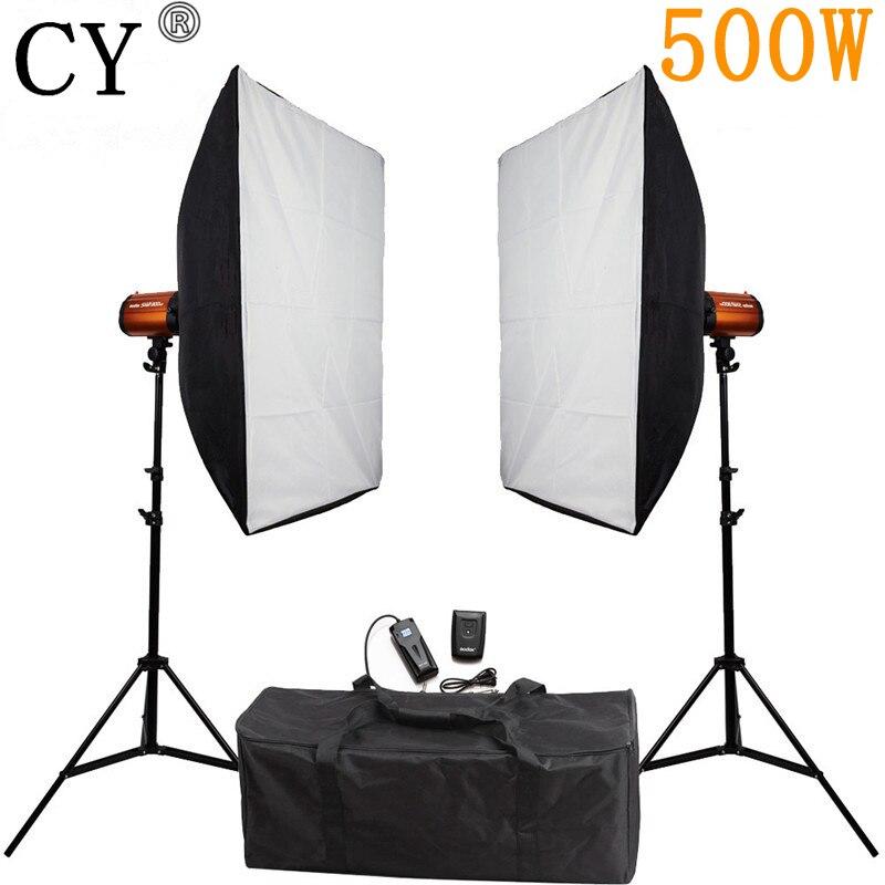 Tüketici Elektroniği'ten Fotoğraf Stüdyosu Aksesuarları'de CY fotoğraf stüdyosu yumuşak kutu flaş aydınlatma kitleri 500w flaş ışığı * 2 + Softbox * 2 + standı * 2 fotoğraf stüdyosu için Godox akıllı 250SDI
