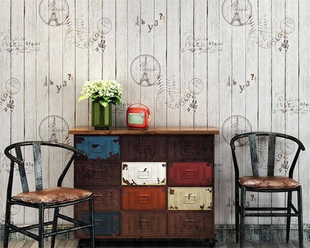 Beibehang papier peint pour murs 3 d Vintage bois papier peint lettre tour Bar café vêtements personnalité rayure 3d papier peint murs