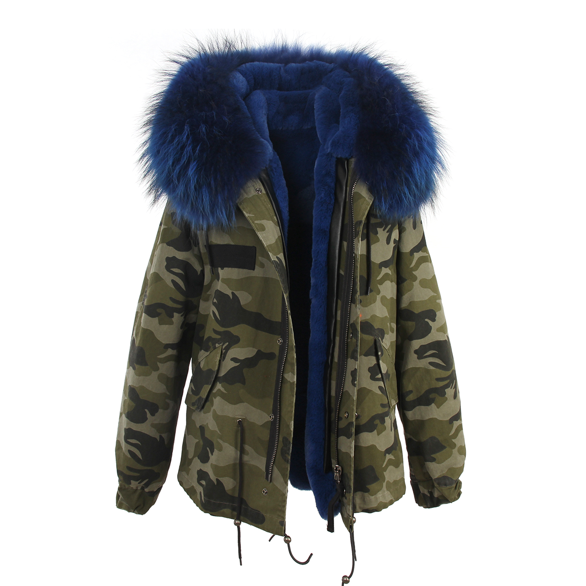 ff3d7dd233d2 J-Z-H 2017 winter jacket women's camouflage real raccoon fur collar coat  detachable warm faux fur liner parkas hoody outwear