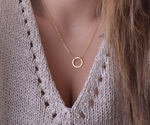 Eternity Necklace, Infinity Necklace, Dainty Jewelry, Circle Necklace, Karma, Gold Infinity, Mothers Gift, Sister Gift BFBJ-006