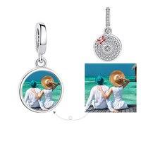 Персонализированные пользовательские фото Лето 100% стерлингового серебра 925 бисера Sunhat украшение-бант подходит брендовый браслет для женщи...