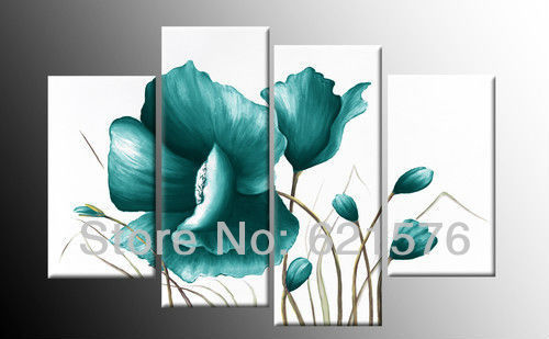 Hand Painted Modern Wall Art Picture Home Decor Abstract Cyan Corn Poppy Flower Group Oil