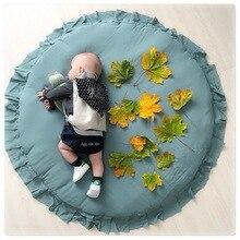 Nordic Pasgeboren Baby Gewatteerde Speelmatten Zachte Katoenen Kruipen Mat Meisjes Game Tapijten Ronde Vloer Tapijt Voor Kids Interieur Kamer decor 79