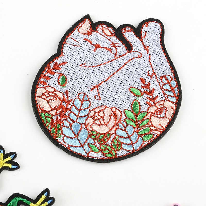 Cartoon Kat Geborduurde Patches Ijzer op Voor Kleding Hagedis Bloem Applicaties Kawaii Bloem Katten Badges Jassen Hoeden Schoenen Parches