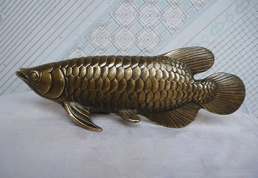 Chinese Folk Culture HandMade Brass Bronze statue Fish Sculpture fast Statues & Sculptures Home & Garden - title=