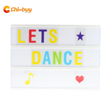 купить A4 size LED Cinematic Light Box with 85 PCS BLACK Letters Cards, BATTERY or USB PORT Powered Cinema Lightbox дешево