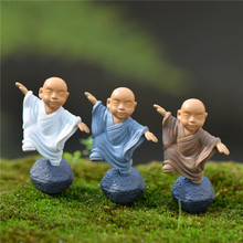 4Pcs/set Temple Buddhist Monk Figurines Fairy Garden Miniatures Bonsai Terrarium Micro Landscape Resin Crafts Gnomes