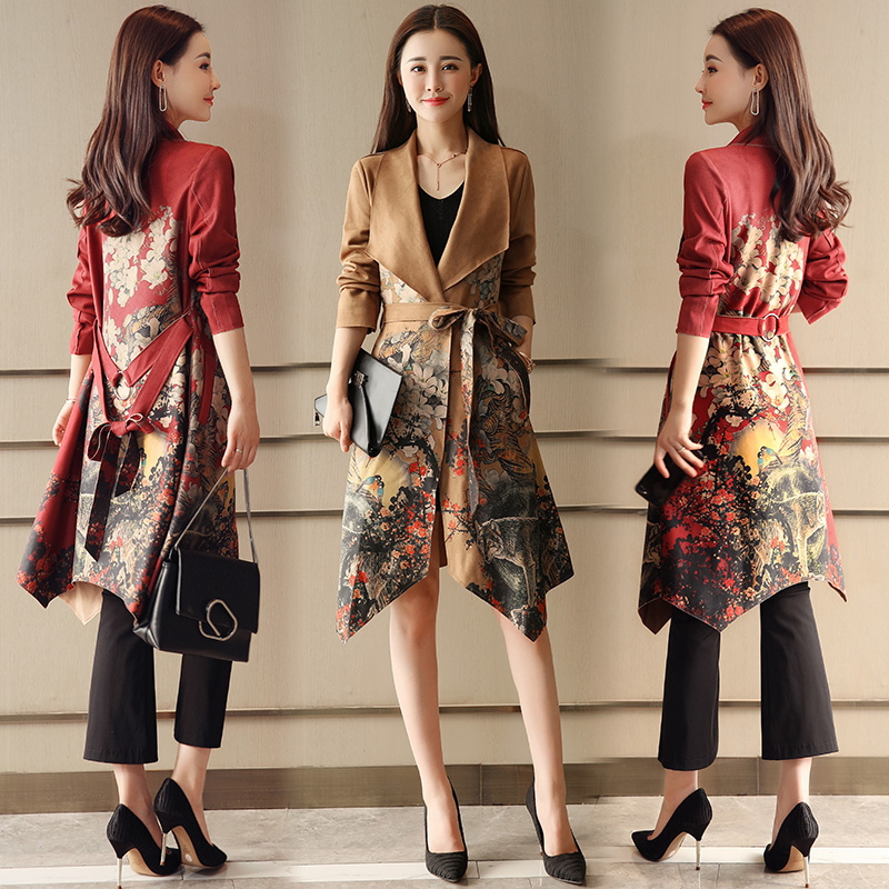 Fashion printing Long   Trench   Coat For Women Autumn Spring Suede   Trench   Coats Outerwear Slim Coat Gabardina Mujer   Trench