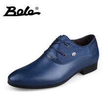BOLE 36-50 Large Size Men Leather Shoes Handsome Comfort Men Wedding Shoes Fashion Lace Up Height Increasing Shoes Men Footwear