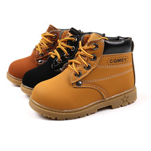 2017 autumn and winter yellow leather face thick plush warm short section girls martin boots beef tendon soft bottom snow boys