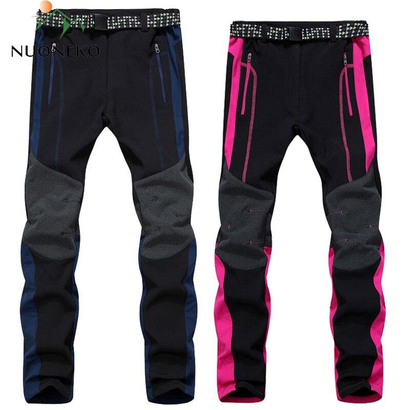 New Men Women's Fleece Softshell Pants Camping Hiking Pants Outdoor Sport Thermal Fishing Skiing Trousers Waterproof Pants PM26