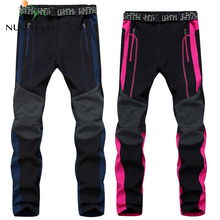 New Men Womens Fleece Softshell Pants Camping Hiking Outdoor Sport Thermal Fishing Skiing Trousers Waterproof PM26