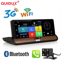 QUIDUX 7 inch 3G DVR Android Car Truck Dashboard GPS Navigation Bluetooth WiFi Dual Camera Rear View 1GB RAM Quad Core GPS DVR