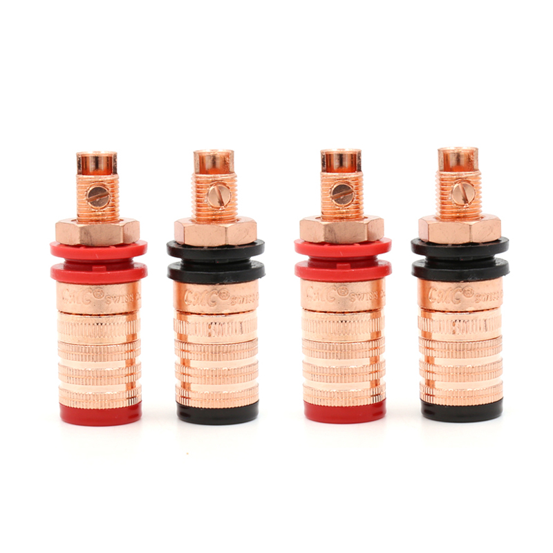 Free shipping 4pcs Pure Copper Conductor Long Binding Post HIFI Speaker Terminal free shipping 4pcs tellurium copper rhodium plated speaker terminal binding post socket long hifi