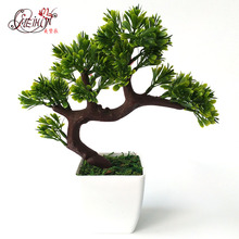 Artificial bonsai tree Welcoming plant Fake flower Green  Simulation pine trees Flower pot vase wedding home decoration