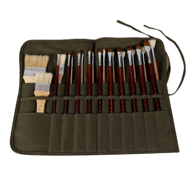 Bolsa de pincel artista acuarela dibujo pluma pintura al óleo rollo de bolsas de lona bolsa de soporte