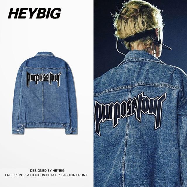 2016 Fall new Men Denim Jacket purpose tour Jeans outerwear HEYBIG hip hop Streetwear BBoy clothing Jackets CN SIZE