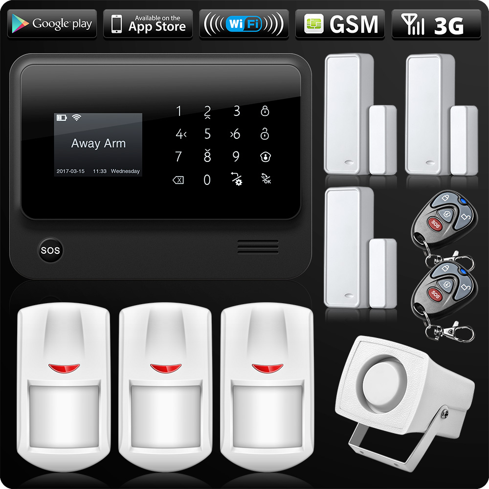G90B 2.4G WiFi 3G SIM Card GSM GPRS SMS Wireless Home House Security Intruder Alarm System Flash Siren PIR And Door Detector