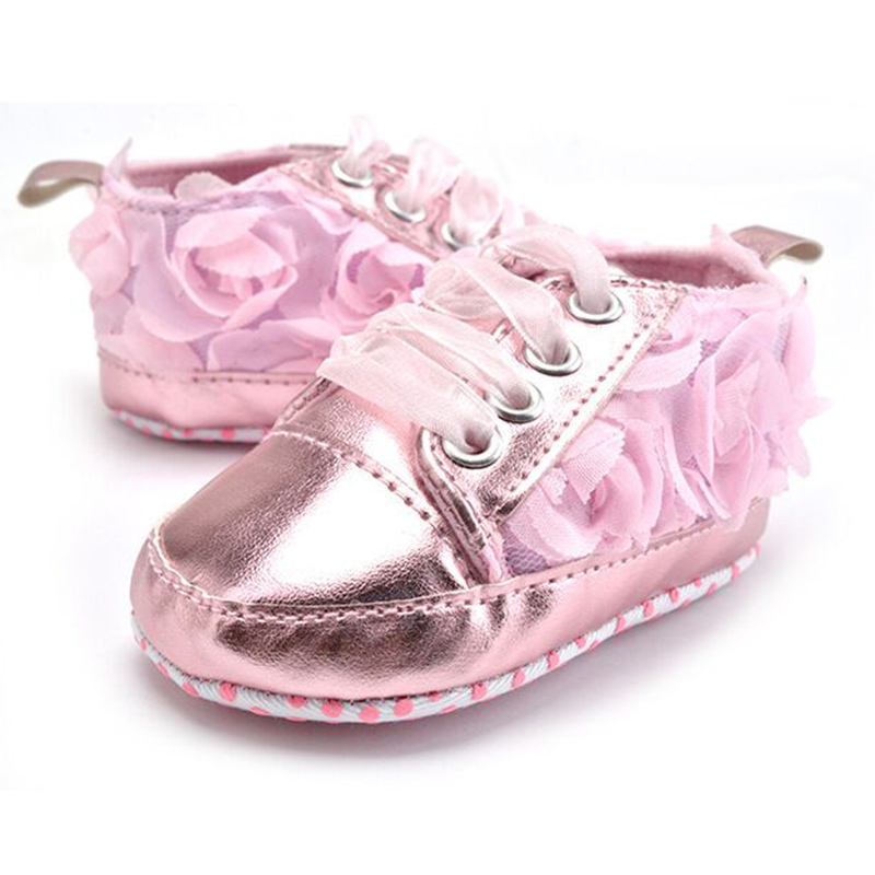 Infant Girl Shoes First Walker Baby Girl Princess Lace Up Soft Sole Sneakers Toddler Girls Shoes Glitter Silver Pink First Step