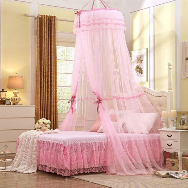 Princess Girl Bed Canopy Hanging Dome Lace Mosquito Net For Crib Twin Full  Queen