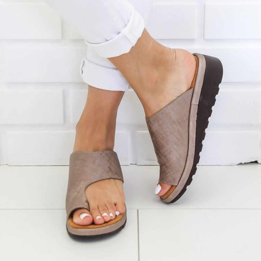 Kadın PU deri ayakkabı rahat platformu düz taban rahat kadın yumuşak büyük ayak ayak düzeltme sandalet ortopedik Bunion düzeltici