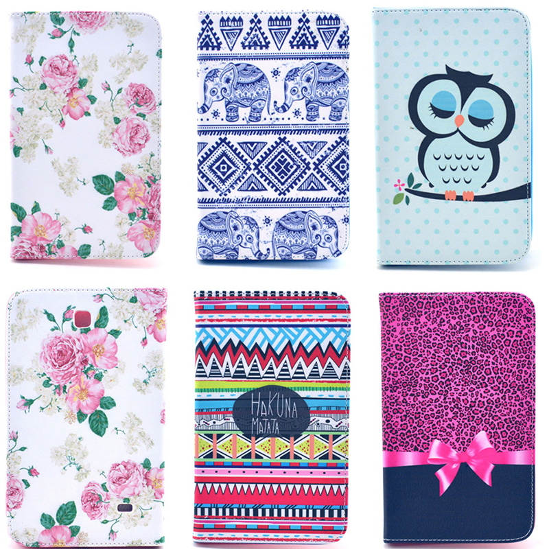 Fashion Bowtie Rose Owl Pattern Wallet Flip PU Leather Tablet Back Cover For Samsung GALAXY Tab 4 7.0 T230 SM-T231 Case funda