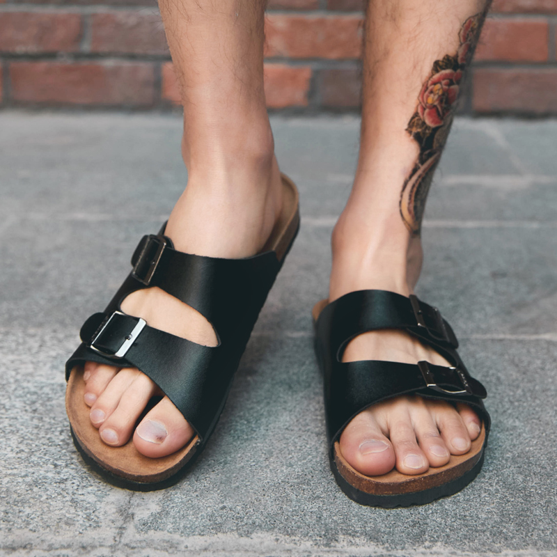 Casual Slippers Summer Flat 2019 Summer Man Shoes Breathable Beach Slippers Split Leather Flip Flops Mens Slippers indoor(China)