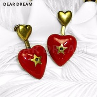 Red Hearts with Golden Pentagon Star Earrings Jewelry & Accessories Fashion Vintage Golden Heart Gift
