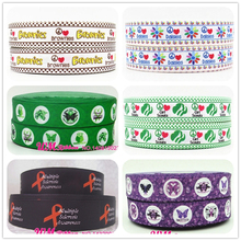 Q&N ribbon wholesale/OEM 1inch 25mm Peace Health Autism Awareness Printed Grosgrain Ribbon 50yds/roll Free Shipping For Hair Bow