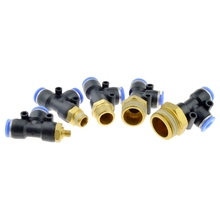 цена на Pneumatic Connector 10mm 8mm 6mm 12mm Hose Tube T Shape Tee Air Fitting 1/4