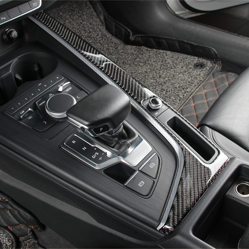 Carbon Fiber Gearshift Decoration Frame Cover Trim For Audi A4 B9 2017 2019 LHD Gear Shift Panel Stickers Auto Accessories