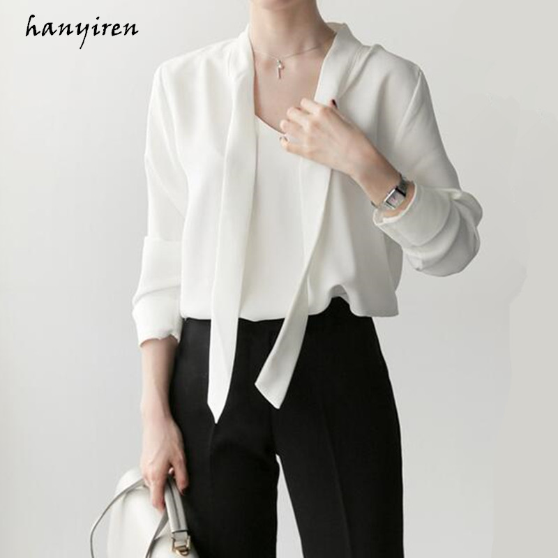 5b7b0519dd28c Hanyiren White V Neck Chiffon Feminine Blouse Sleeve Long With Bow Tie 2018  Women New Office Lady ...