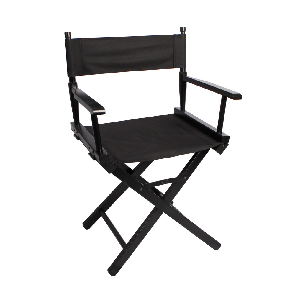 Folding Director Chair Portable Makeup Artist Director Chair Steel Outdoor Camping Fishing Black