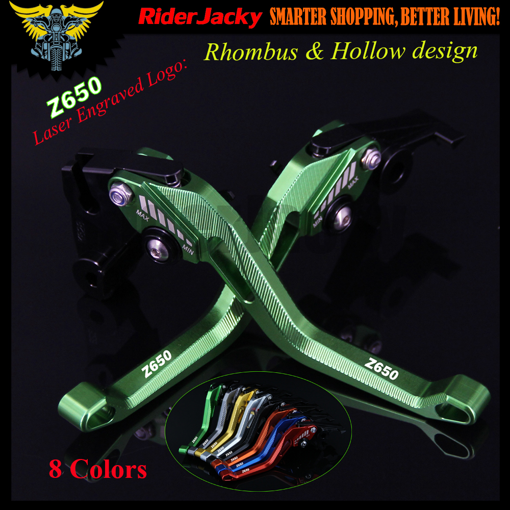 New 3D Rhombus Hollow Design Patent Adjustable Green Red Black Motorcycle CNC Brake Clutch Levers For Kawasaki Z650 Z 650 2017 цена
