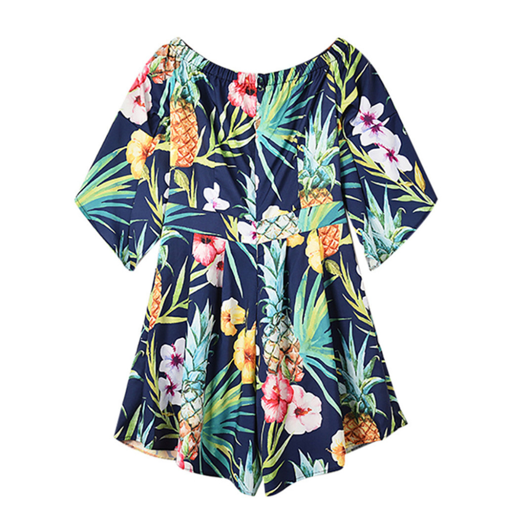 Women Fashion Slash Neck Half Sleeve Flower Print Short