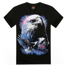 AZEL Men's Casual Eagles Animal Printed 3D T Shirt Men New Black Knitted Cotton O Neck Tops Tees 2017 Summer Mens Clothes MT