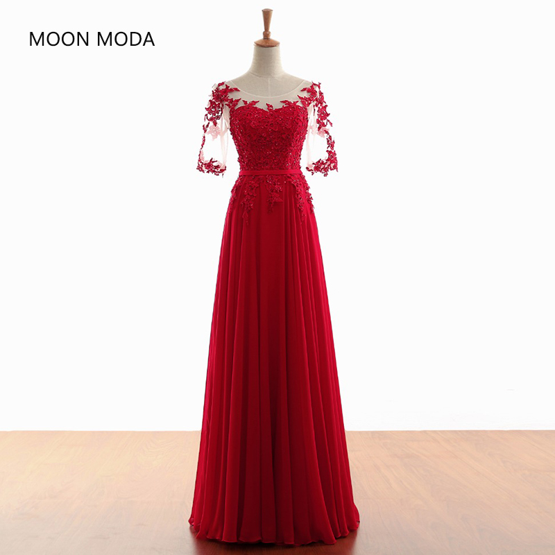 Elegant Red Lace Long Evening Dresses 2018 Half Sleeve Party Tulle Robe De Soiree Longo gown vestidos de fiesta fast shipping