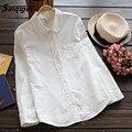 Saiqigui Branco Blusa Mulheres Trabalho Desgaste Botão Para Cima Do Laço Gola Virada Para Baixo de Manga Longa de Algodão Camisa Top bonito blusas feminina