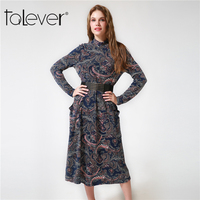 Women Autumn Midi Printed Dresses 2017 Vintage Paisley Pattern Long Loose Casual Elegant Party Dress Talever
