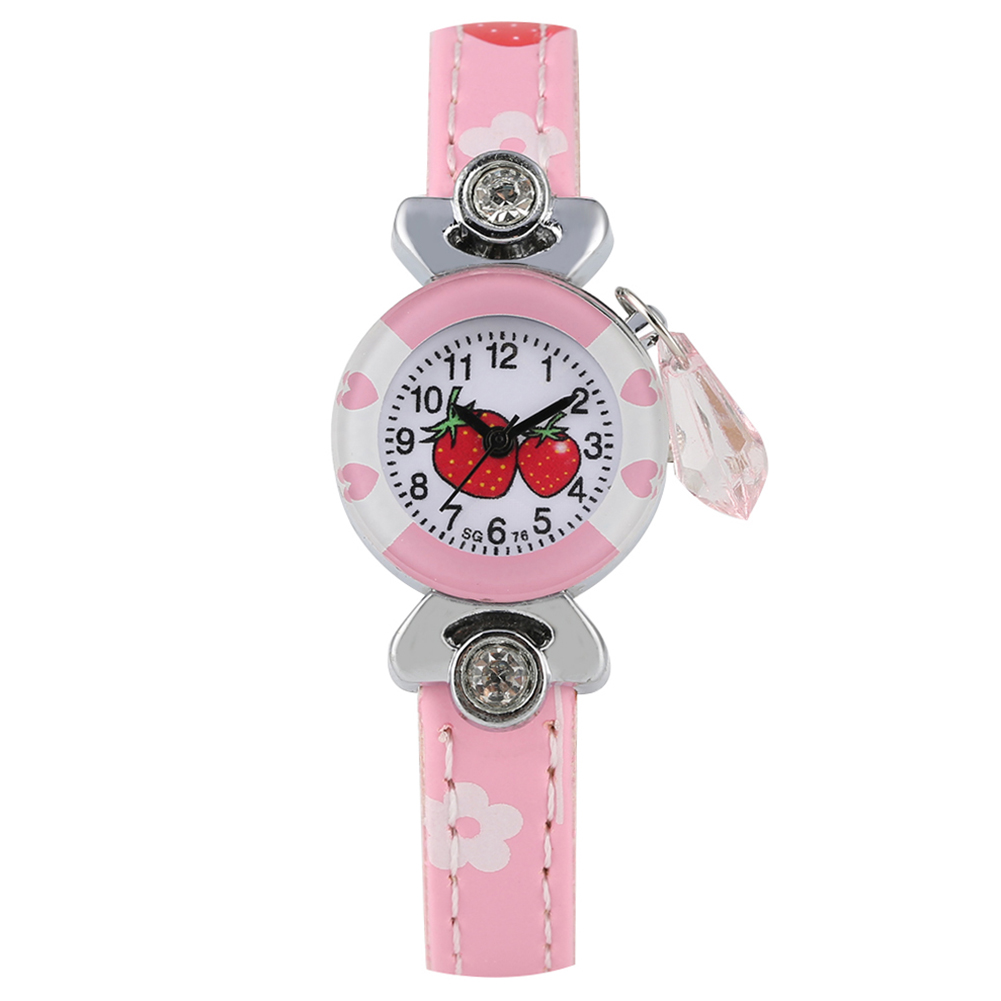 Delicate Cherry Pattern Quartz Watch For Child Kids Quartz Arabic Numerals Dial Leather Band Watches For Boys